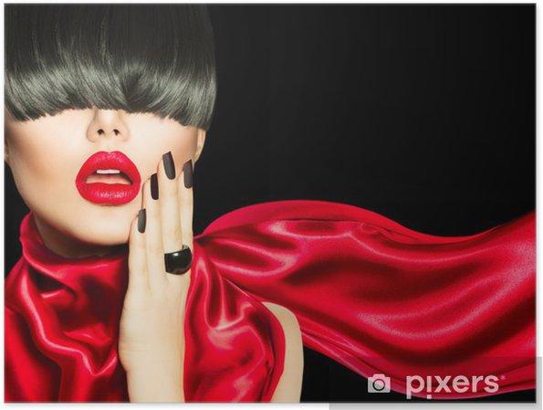 Poster High Fashion Meisje met trendy kapsel, make-up en manicure - Mode