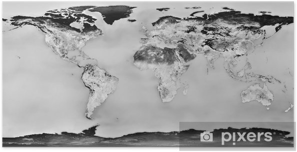 high resolution black and white world map Poster