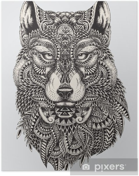 Highly detailed abstract wolf illustration Poster - Styles