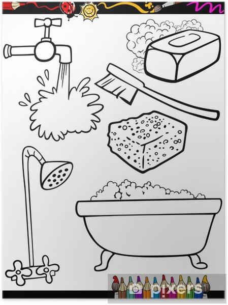Póster Higiene De Dibujos Animados Para Colorear Objetos Pixers