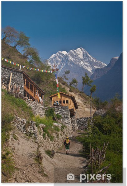 Hiker in Himalayan village Poster - Themes