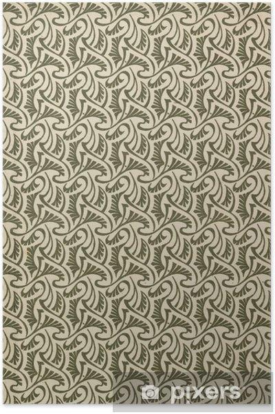 Poster Hintergrund gedrucktes Muster in Jugendstil als Reproduktion - Achtergrond