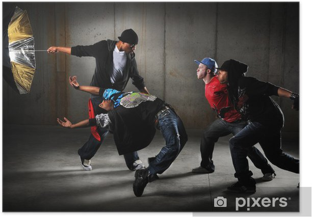 Hip Hop Men Performing Poster - Themes