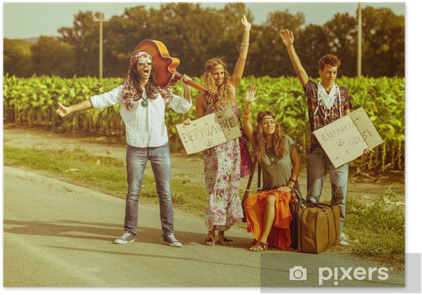 Hippie Group Hitchhiking on a Countryside Road Poster - Styles