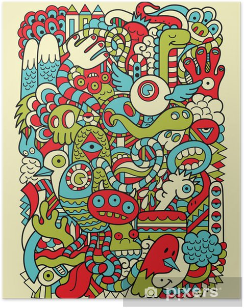 Hipster Doodle Monster Collage Background Poster - Styles