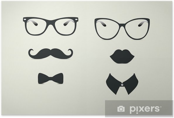 Poster Hipster Lady och Gentleman Icohs - Mustasch