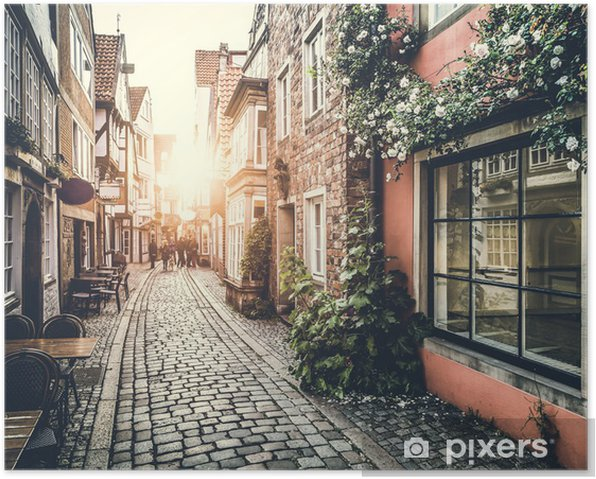 Historic street in Europe at sunset Poster - Themes
