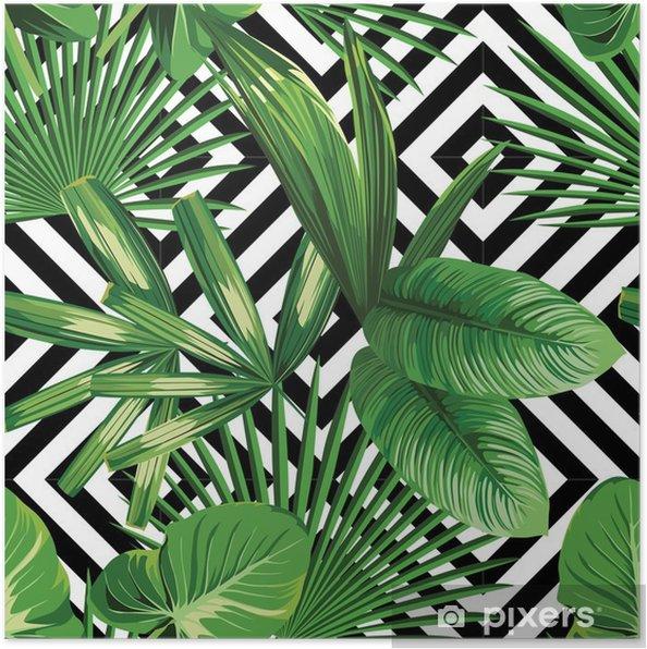 Póster Hojas de palmera tropical modelo, fondo geométrico - Canvas Prints Sold