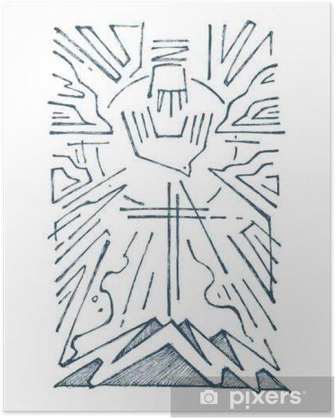 Poster Holy Trinity dessinés à la main illustration - Culture et religion