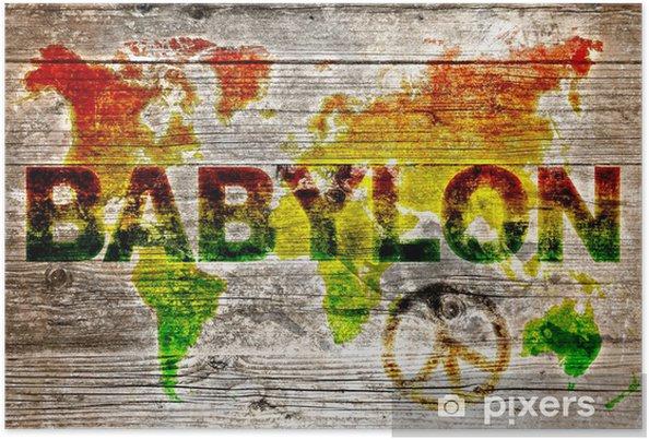 Poster Holzschild - Paix pour le système mondial babylon - Paix