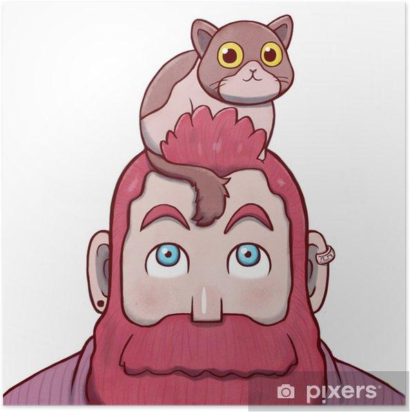 Poster Homme barbu rose avec un chat sur la tête - Personnes