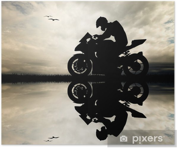 Poster Homme motocycliste au coucher du soleil - Hommes