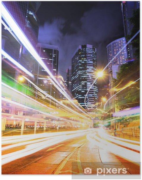 Poster Hong Kong piste de circulation la nuit - Paysages urbains