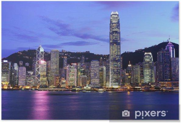 Poster Hong Kong skyline in de nacht - Stijlen