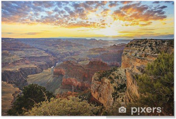 Poster Horisontell syn på berömda Grand Canyon vid soluppgången - Amerika