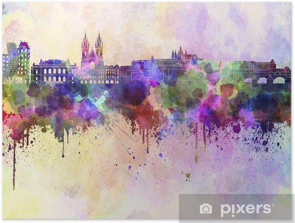 Poster Horizon Prague en fond d'aquarelle - Prague
