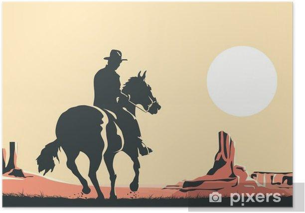 Horizontal cartoon illustration of cowboy in prairie wild west. Poster - Landscapes