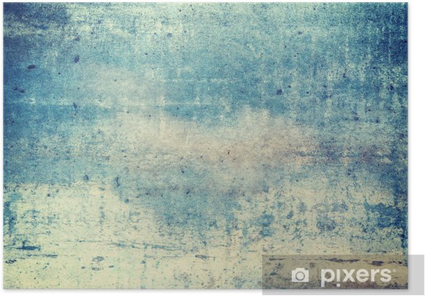 Horizontally oriented blue colored grunge background Poster - Graphic Resources