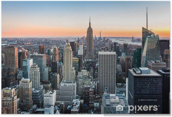 Póster Horizonte de Nueva York al atardecer -