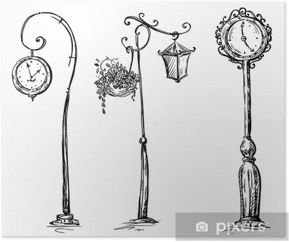 Poster Horloges de rue et un lampadaire, dessinés à la main - Autres