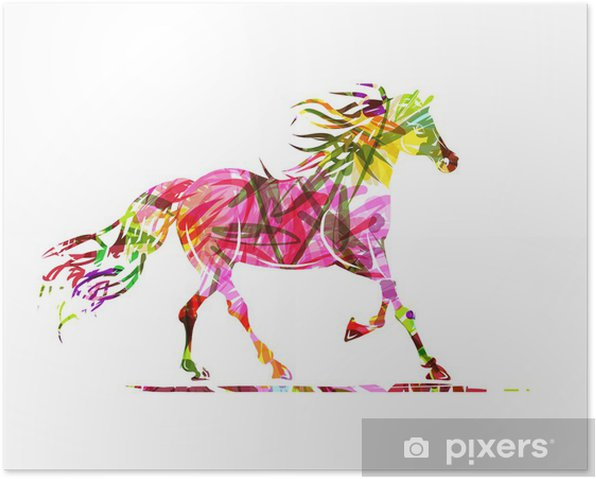 Horse sketch with floral ornament for your design. Symbol of Poster - Themes