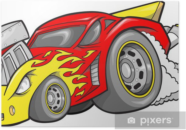 Hot-Rod Race-Car Vector Illustration Poster - On the Road