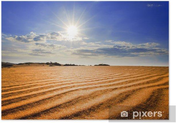 Poster Hot Sun sous Red dunes de sable. - Asie
