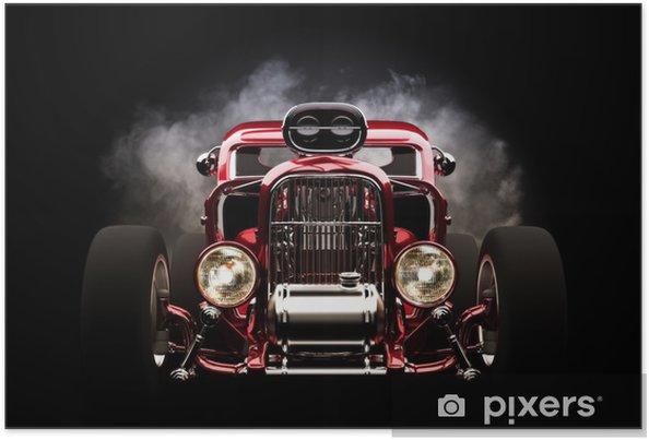 Poster Hotrod met rook achtergrond - Achtergrond