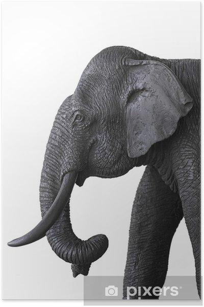 Poster Houten olifant - Zoogdieren
