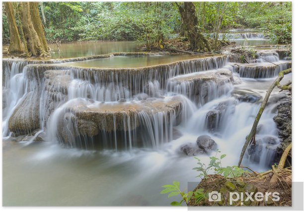Póster Huay Mae Kamin cascada en la provincia de Kanchanaburi, Tailandia - Temas