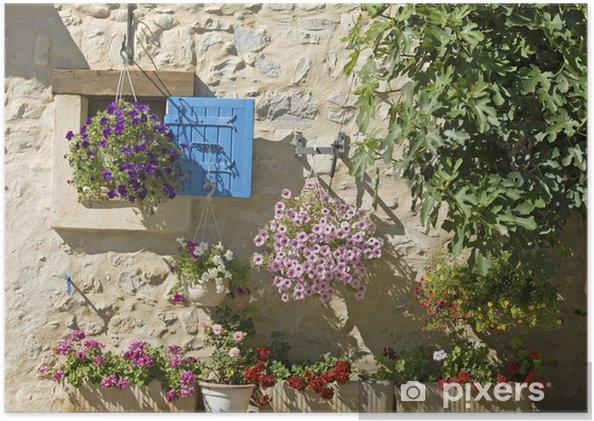 Poster Huis, blauwe sluiter met bloem in de Provence, Frankrijk. - Europa