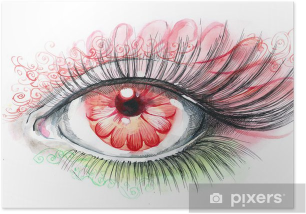 human eye with flower Poster - Themes