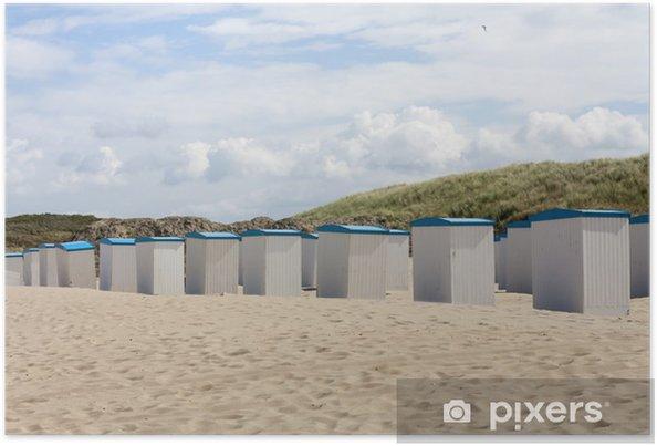 Poster Huttes de plage le long de la mer du Nord aux Pays-Bas - Eau