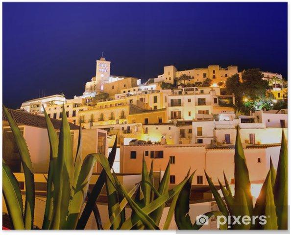 Poster Ibiza Dalt Vila downtown in de nacht verlichting - Vakantie
