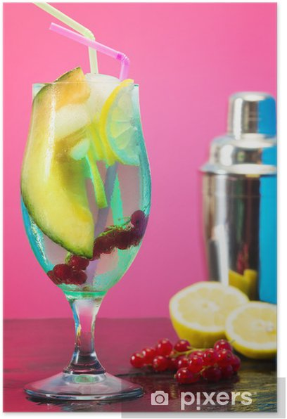 iced fruit cocktail with shaker Poster - Alcohol