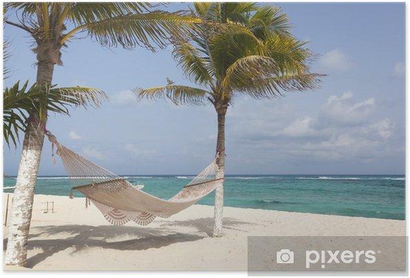 Hangmat Uit Mexico.Poster Idyllische Strand Met Kokospalmen En Hangmat Op Mexico