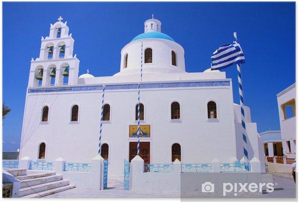 Póster Iglesia ortodoxa en Oia (isla de Santorini - Grecia) - Europa