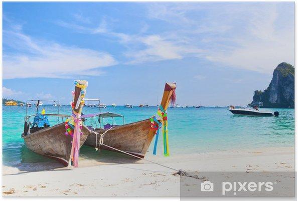 Poster Île tropicale avec deux bateaux et un ciel clair - Vacances