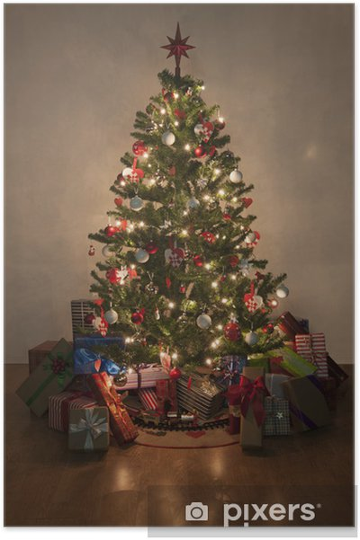 Christmas Tree With Presents.Illuminated Christmas Tree With Presents Poster