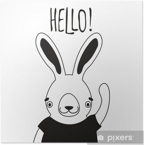 Poster Illustratie van schattige konijn in t-shirt en word Hallo. - Dieren