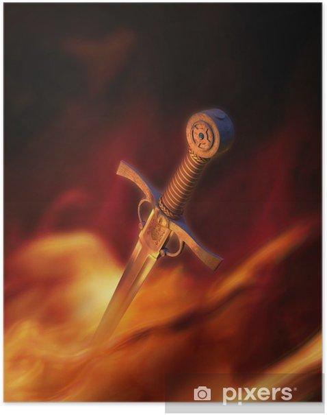 Poster Illustration 3D d'une épée médiévale à feu - Esotérisme