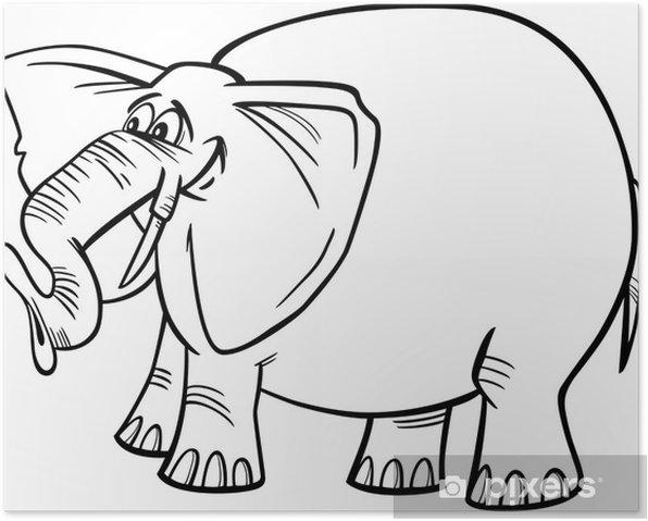 Poster Illustration d'éléphant de bande dessinée à colorier - Sticker mural