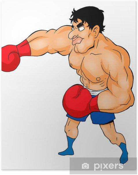 Poster Illustration de bande dessinée d'un boxeur - Sports individuels