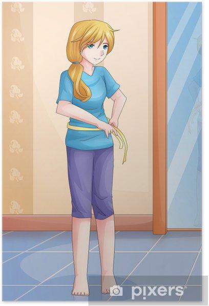 Poster Illustration de bande dessinée d'une femme mesurant son tour de taille - Thèmes