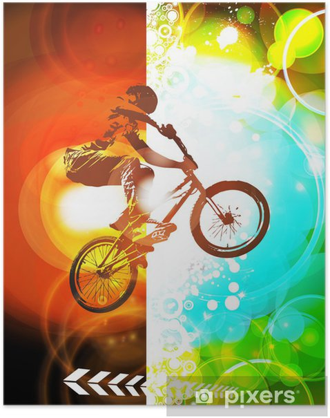 Poster Illustration de cycliste de BMX - Cyclisme