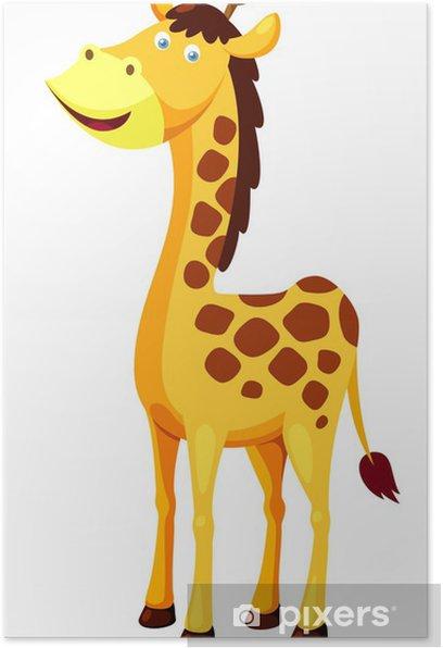 Poster Illustration de girafe de bande dessinée Vector - Sticker mural