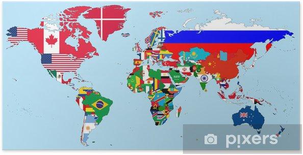 poster illustration des drapeaux de pays nationales sur la carte du