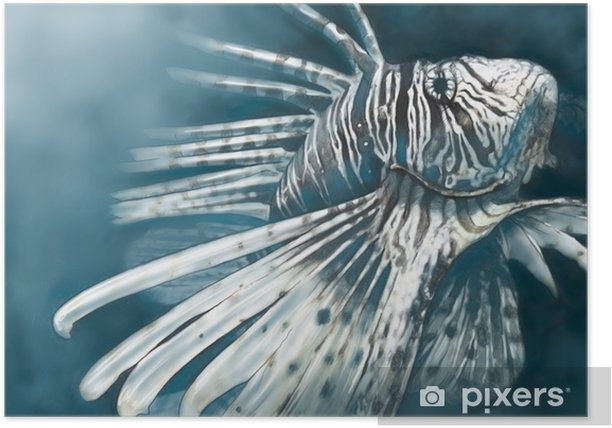Illustration made with a digital tablet scorpion fish dangerous, Poster - Animals