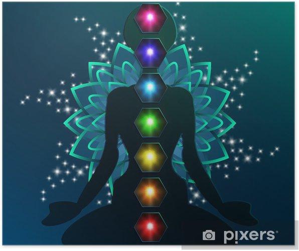 Illustration Of Human Chakra Lotus Flower Poster Pixers We