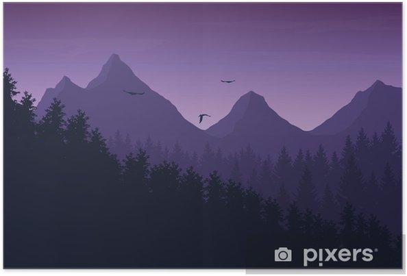 Poster Illustration vectorielle du paysage de montagne avec la forêt sous le ciel de nuit pourpre avec des nuages et des oiseaux en vol - Paysages